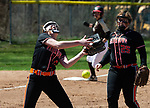 THOMASTON,  CT-041619JS10-Thomaston's Paige Fekete (2) drops a pop up that allowed two runs to score as teammate Makayla Beauty (25) looks on during their  game against Watertown Tuesday at Thomaston High School.<br />  Jim Shannon Republican American