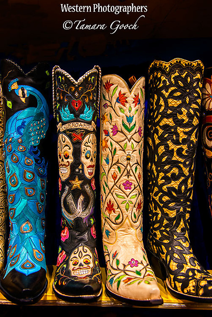 A photo of some custom western cowboy boots.