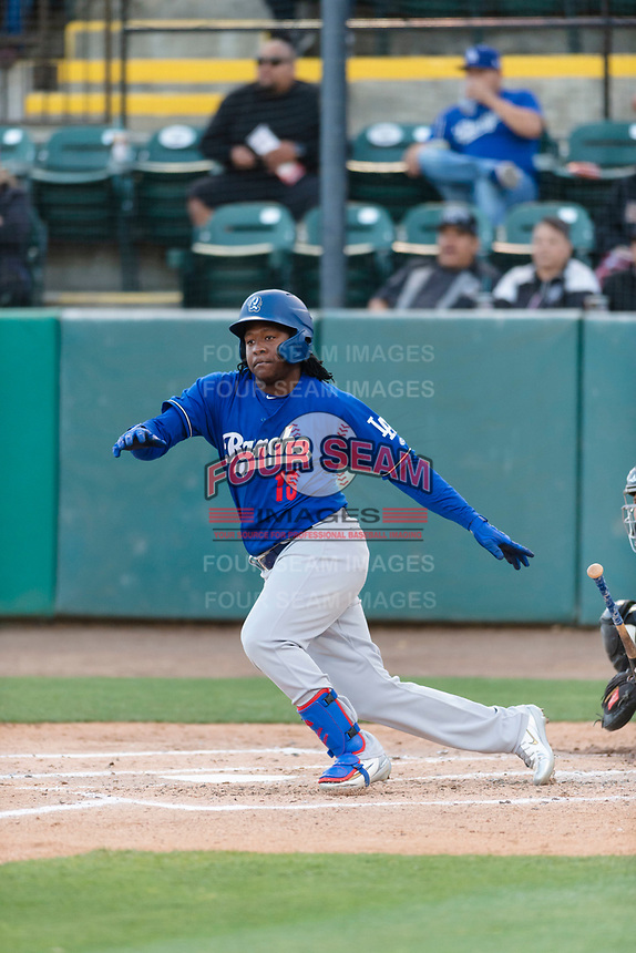 Rancho Cucamonga Quakes designated hitter Carlos Rincon (16) during a California League game against the Visalia Rawhide on April 9, 2019 in Visalia, California. Visalia defeated Rancho Cucamonga 8-5. (Zachary Lucy/Four Seam Images)