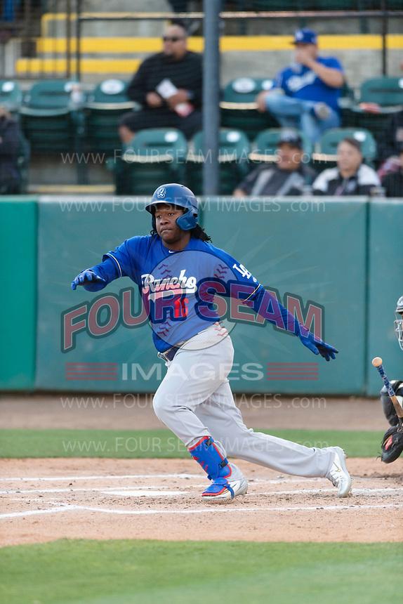 Rancho Cucamonga Quakes designated hitter Carlos Rincon (16) during a California League game against the Visalia Rawhide on April 9, 2019 in Visalia, California. Visalia defeated Rancho Cucamonga 8-5. (Zachary Lucy/Four Seam Images)