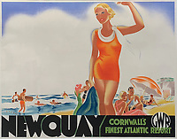 BNPS.co.uk (01202 558833)<br /> Pic: DavidLayFRICS/BNPS<br /> <br /> PICRTURED: One striking Art Deco poster issued by Great Western Railway shows a lady in an orange swimsuit at Newquay with surfers in the background. It describes the popular holiday destination as 'Cornwall's first Atlantic resort'.<br /> <br />  A wonderful collection of vintage British travel posters celebrating the golden age of the seaside getaway have emerged for sale for £15,000.<br /> <br /> The posters were produced by Great Western Railway and British Railways between the 1930s to the 1960s to encourage Brits to holiday on the Cornish coast.<br /> <br /> The collection of about 30 posters has been put together by a private collector over the past two decades who is now selling them with auction house David Lay FRICS, of Penzance, Cornwall.
