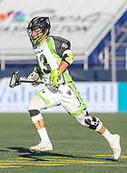 Annapolis, MD - July 7, 2018: New York Lizards Matt Landis (43) runs with the ball during the game between New York Lizards and Chesapeake Bayhawks at Navy-Marine Corps Memorial Stadium in Annapolis, MD.   (Photo by Elliott Brown/Media Images International)