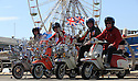 06/05/13 ..L/R: Mick Crerar, Dave Blackburn, John Grimshaw and Shaun Bromley...Scooter enthusiasts rode 50 miles to enjoy the Bank Holiday weather on Blackpool beach today. ..All Rights Reserved - F Stop Press.  www.fstoppress.com. Tel: +44 (0)1335 300098.