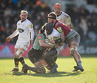 Wasps' Christian Wade is tackled by Harlequins' Luke Wallace and James Chisholm<br /> <br /> Photographer Bob Bradford/CameraSport<br /> <br /> Aviva Premiership Round 14 - Harlequins v Wasps - Sunday 11th February 2018 - Twickenham Stoop - London<br /> <br /> World Copyright &copy; 2018 CameraSport. All rights reserved. 43 Linden Ave. Countesthorpe. Leicester. England. LE8 5PG - Tel: +44 (0) 116 277 4147 - admin@camerasport.com - www.camerasport.com