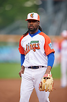 "Buffalo Bisons third baseman Alen Hanson (31) during an International League game against the Scranton/Wilkes-Barre RailRiders on June 5, 2019 at Sahlen Field in Buffalo, New York.  The Bisons wore special uniforms as they played under the name the ""Buffalo Wings"". Scranton defeated Buffalo 3-0, the first game of a doubleheader. (Mike Janes/Four Seam Images)"