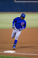 AZL Cubs left fielder Nelson Velazquez (20) rounds third base after hitting a home run against the AZL Brewers on August 24, 2017 at Maryvale Baseball Park in Phoenix, Arizona. AZL Cubs defeated the AZL Brewers 9-1. (Zachary Lucy/Four Seam Images)