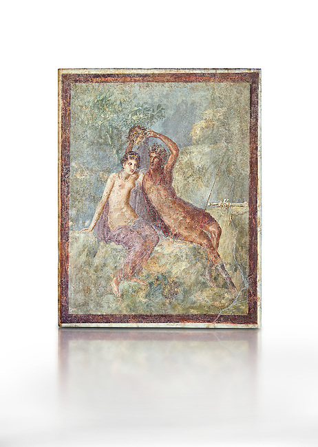 Roman Nero Period fresco wall painting of Perseus and Andromeda, from a house in the Insula Occidentalis at Pompeii , inv 9058 , Naples National Archaeological Museum , white background