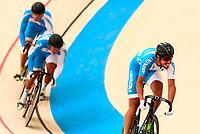 Picture by Alex Whitehead/SWpix.com - 09/12/2017 - Cycling - UCI Track Cycling World Cup Santiago - Velódromo de Peñalolén, Santiago, Chile - Argentina's Pablo Javier Perruchoud, Leandro Bottasso and Juan Pablo Serrano Esper compete in the Men's Team Sprint qualifying.