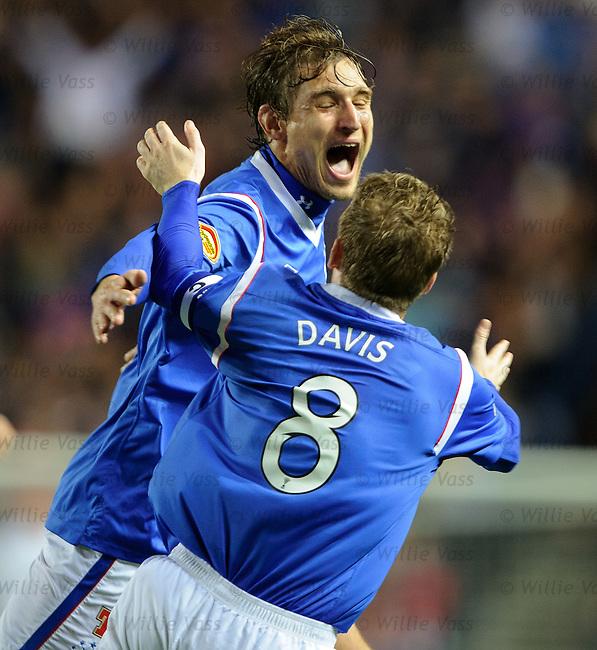 Nikica Jelavic celebreates with Steven Davis