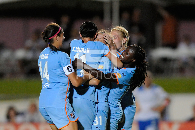 Carolyn Blank (31) of Sky Blue FC celebrates scoring the game winning goal. Sky Blue FC defeated the Boston Breakers 2-1 during a Women's Professional Soccer (WPS) match at Yurcak Field in Piscataway, NJ, on May 28, 2011.