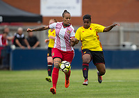 Cherrelle 'Chez' Albert of Watford Ladies battles Dom Godbeer of Stevenage Ladies during the pre season friendly match between Stevenage Ladies FC and Watford Ladies at The County Ground, Letchworth Garden City, England on 16 July 2017. Photo by Andy Rowland / PRiME Media Images.