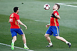 Spain's Pedro Rodriguez (l) and Asier Illarramendi during training session. March 20,2017.(ALTERPHOTOS/Acero)