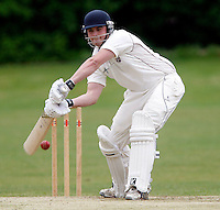 A Burrows bats for Hornsey during the Middlesex County Cricket League Division Three game between Hornsey and Wembley at Tivoli Road, Crouch End, London on Sat May 29, 2010