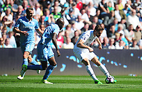 Swansea City's Fernando Llorente under pressure from Stoke City's Bruno Martins Indi<br /> <br /> Photographer Kevin Barnes/CameraSport<br /> <br /> The Premier League - Swansea City v Stoke City - Saturday 22nd April 2017 - Liberty Stadium - Swansea<br /> <br /> World Copyright &copy; 2017 CameraSport. All rights reserved. 43 Linden Ave. Countesthorpe. Leicester. England. LE8 5PG - Tel: +44 (0) 116 277 4147 - admin@camerasport.com - www.camerasport.com