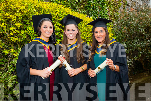 At the ITT Conferring Ceremony in the Brandon Hotel on Friday were l-r  Aoibhlinn O'Connor BSC in Health and Leisure, Maria Quirke, BSC in Health and Leisure with Massage and Rachel Sinnott, BSC (Honours) in Adapted Physcial Activity