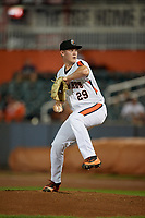Aberdeen IronBirds pitcher Houston Roth (29) during a NY-Penn League game against the Vermont Lake Monsters on August 19, 2019 at Leidos Field at Ripken Stadium in Aberdeen, Maryland.  Aberdeen defeated Vermont 6-2.  (Mike Janes/Four Seam Images)