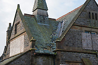 Disused Thornley School, Thornley with Wheatley, Longridge, Preston, Lancashire where lead has been stolen from the roof.