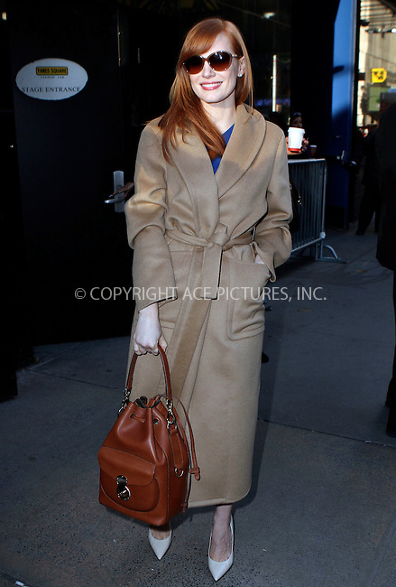 ACEPIXS.COM<br /> <br /> November 3 2014, New York City<br /> <br /> Jessica Chastain made an appearance at 'Good Morning America' on November 3 2014 in New York City<br /> <br /> By Line: Nancy Rivera/ACE Pictures<br /> <br /> ACE Pictures, Inc.<br /> www.acepixs.com<br /> Email: info@acepixs.com<br /> Tel: 646 769 0430