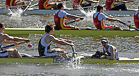 Seville. SPAIN, 18.02.2007, GBR M8+, approaching the finishing line in Sundays final, at the FISA Team Cup, held on the River Guadalquiver course. [Photo Peter Spurrier/Intersport Images] Acer NETHERCOTT, Steve WILLIAMS, Matt LANGRIDGE, Tom SOLESBURY, Jonno DEVLIN, James ORME, Marcus BATEMAN, Robin BOURNE-TAYLOR and Tom STALLARD   [Mandatory Credit, Peter Spurier/ Intersport Images]. , Rowing Course: Rio Guadalquiver Rowing Course, Seville, SPAIN, , Sunrise, Sunsets, Silhouettes