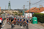 Team Sky and Quick-Step Floors on the front of the peloton during Stage 19 of the 2017 La Vuelta, running 149.7km from Caso. Parque Natural de Redes to Gij&oacute;n, Spain. 8th September 2017.<br /> Picture: Unipublic/&copy;photogomezsport | Cyclefile<br /> <br /> <br /> All photos usage must carry mandatory copyright credit (&copy; Cyclefile | Unipublic/&copy;photogomezsport)