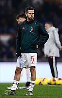 12th January 2020; Stadio Olympico, Rome, Italy; Italian Serie A Football, Roma versus Juventus; Miralem Pjanic of Juventus pre-game warm up - Editorial Use