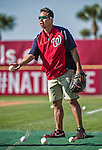 16 March 2014: Washington Nationals Medical Staff Assistant John Hsu helps out at batting practice prior to a Spring Training Game against the Detroit Tigers at Space Coast Stadium in Viera, Florida. The Tigers edged out the Nationals 2-1 in Grapefruit League play. Mandatory Credit: Ed Wolfstein Photo *** RAW (NEF) Image File Available ***