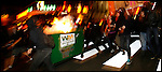 Sept. 24,  - Pittsburgh, Pennsylvania, USA - .Anarchist push a flaming dumpster down the streets of downtown Pittsburgh, PA Thursday night near the site of the G-20 Summit. Brian Blanco/ZUMA Press