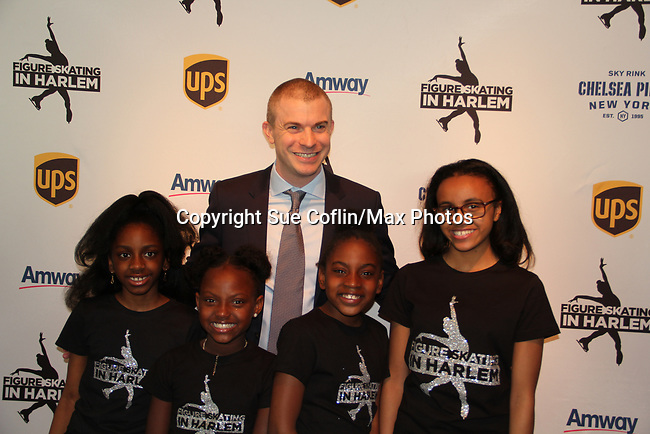 Honoree Tim Goebel with Harlem Skaters - Figure Skating in Harlem presents Champions in Life Benefit Gala on April 29, 2019 at Chelsea Pier, New York City, New York - (Photo by Sue Coflin/Max Photos)