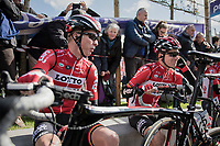 Marcel Sieberg (DEU/Lotto-Soudal) & Jurgen Roelandts (BEL/Lotto-Soudal) relaxing & enjoying some sunshine at the start<br /> <br /> 72nd Dwars Door Vlaanderen (1.UWT)<br /> 1day race: Roeselare › Waregem BEL (203.4km)