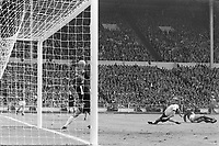 30.07.1966. Wembley Stadium, London England. 1966 World Cup final England versus Germany (4-2) After Extra time.  Geoff Hurst (R, ENG) scores the third goal off the crossbar past German goalkeeper Hans Tilkowski (L) and Willi Schulz (C).