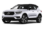 Stock pictures of low aggressive front three quarter view of a 2019 Volvo XC40 R-Design 5 Door SUV