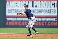 Gwinnett Braves shortstop Daniel Castro (2) makes a throw to first base against the Gwinnett Braves at BB&T BallPark on July 3, 2015 in Charlotte, North Carolina.  The Braves defeated the Knights 11-4 in game one of a day-night double header.  (Brian Westerholt/Four Seam Images)