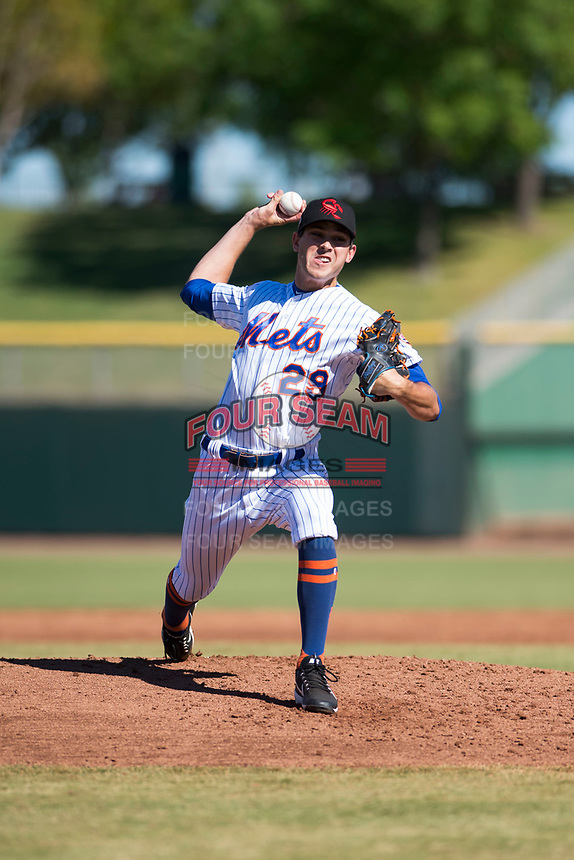 Scottsdale Scorpions relief pitcher Stephen Nogosek (29), of the New York Mets organization, delivers a pitch during an Arizona Fall League game against the Surprise Saguaros at Scottsdale Stadium on October 26, 2018 in Scottsdale, Arizona. Surprise defeated Scottsdale 3-1. (Zachary Lucy/Four Seam Images)