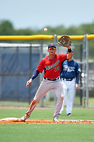 GCL Twins first baseman Benjamin Rodriguez (71) waits to receive a throw during the first game of a doubleheader against the GCL Rays on July 18, 2017 at Charlotte Sports Park in Port Charlotte, Florida.  GCL Twins defeated the GCL Rays 11-5 in a continuation of a game that was suspended on July 17th at CenturyLink Sports Complex in Fort Myers, Florida due to inclement weather.  (Mike Janes/Four Seam Images)