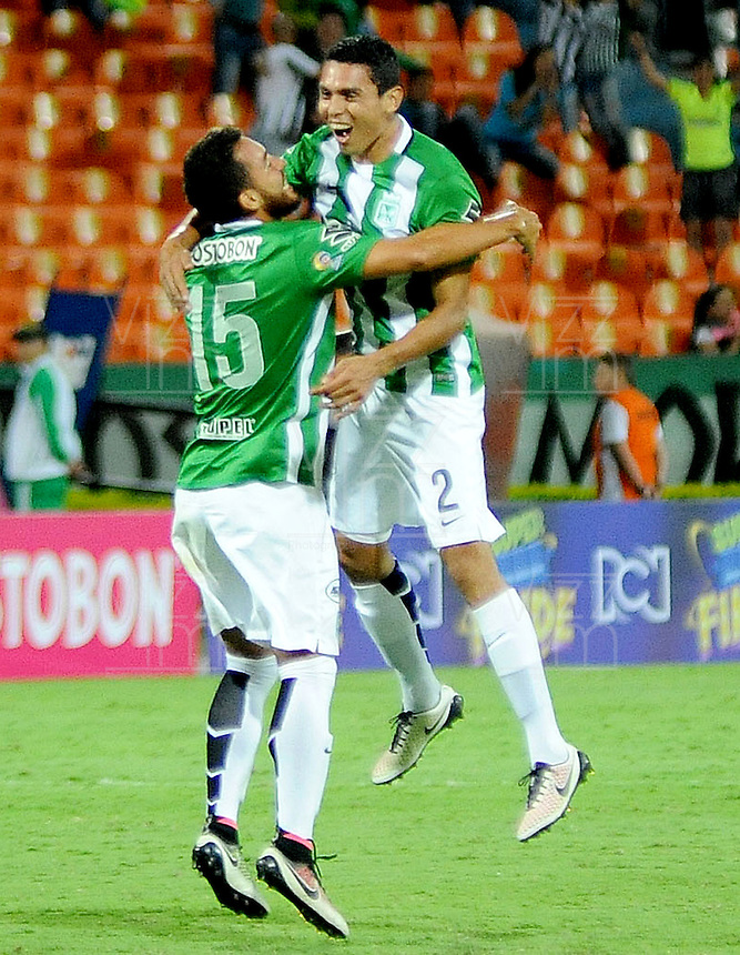 MEDELLIN - COLOMBIA -26-05-2016: Daniel Bocanegra (Der) de Atlético Nacional celebra después de anotar un gol a La Equidad durante partido por la fecha 15 de la Liga Águila I 2016 jugado en el estadio Atanasio Girardot de la ciudad de Medellín./ Daniel Bocanegra (R) player of Atletico Nacional celebrates after scoring a goal to La Equidad during match for the date 15 of the Aguila League I 2016 played at Atanasio Girardot stadium in Medellin city Photo: VizzorImage / Cristian Alvarez / CONT