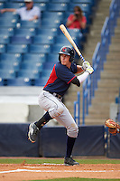 Vinnie Pasquantino (7) of James River High School in Moseley, Virginia playing for the Cleveland Indians scout team during the East Coast Pro Showcase on July 30, 2015 at George M. Steinbrenner Field in Tampa, Florida.  (Mike Janes/Four Seam Images)