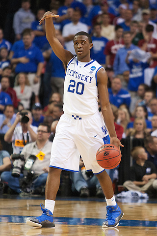Guard Doron Lamb calls a play. Kentucky faced Indiana during the Sweet 16 round of the 2012 NCAA Tournament at the Georgia Dome in Atlanta,  March 23, 2012. Photo by Derek Poore