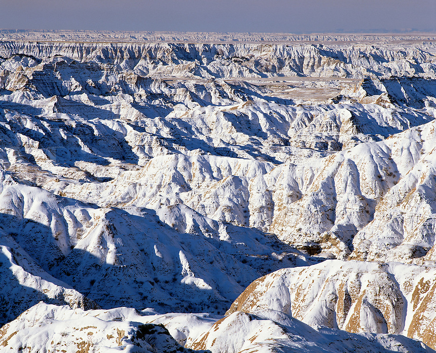 Snow covered bad lands, Sage Creek Wilderness, Badlands National Park, South Dakota