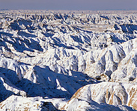 Snow covered bad lands, Sage Creek Wilderness, Badlands National Park, South Dakota