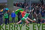 Niall Moloney of Blackrock fails to stop Brosna's Kieran Curtin scoring in the Munster Junior B Football final held last Sunday in Knockaderry.