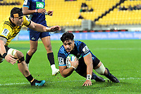Tanielu Tele'a scores for the Blues during the Super Rugby match between the Hurricanes and Blues at Westpac Stadium in Wellington, New Zealand on Saturday, 15 June 2019. Photo: Dave Lintott / lintottphoto.co.nz