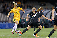 June 7, 2016: KATRINA GORRY (19) of Australia runs with the ball during an international friendly match between the Australian Matildas and the New Zealand Football Ferns as part of the teams' preparation for the Rio Olympic Games at Etihad Stadium, Melbourne. Photo Sydney Low