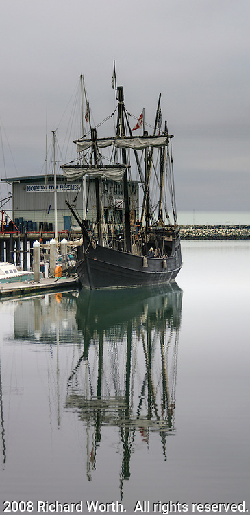 """The Niña - Most Historically Accurate Columbus Replica Ship Ever Built"".  So says the Columbus Foundation on their website at www.thenina.com.  This image was taken in October 2008 when the Niña tied up for a few days at Pillar Point Harbor, Half Moon Bay, California."