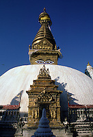 SWAYAMBHUNATH STUPA sits on a sacred KATHAMANDU site 2500 years old. BUDDHA'S EYES look in the 4 directions