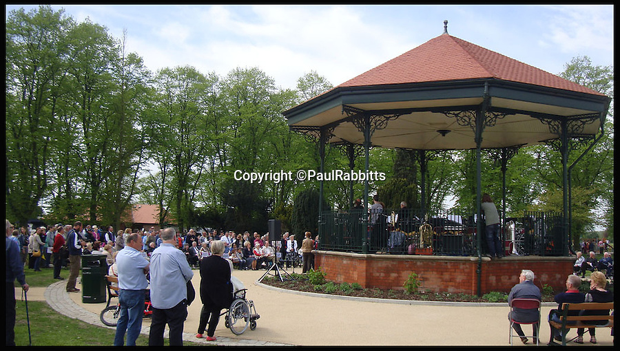 BNPS.co.uk (01202 558833)<br /> Pic: PaulRabbitts/BNPS<br /> <br /> ***Please Use Full Byline***<br /> <br /> The bandstand at West Park, Goole, was built in 1923 and still stands today. <br /> <br /> A landscape gardener is trumpeting the great British creation of the bandstand after touring the country's parks to study the iconic structures for a new book.<br /> <br /> Paul Rabbitts' work is a celebration of the Victorian platforms and a throwback to the halycon days of outdoor music when thousands of people would gather in public parks for a brass band performance.