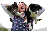 Noreen Dwyer with Border Collie pups ' Will and Kate'   at the Muckross Traditional Farm in Killarney.