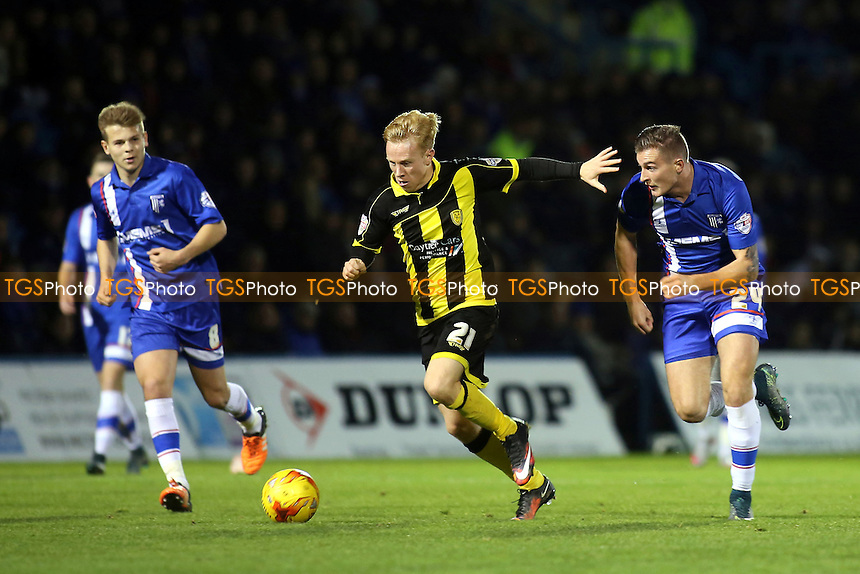 Burton's Mark Duffy takes on the Gillingham defence during Gillingham vs Burton Albion, Sky Bet League 1 Football at the MEMS Priestfield Stadium, Gillingham, England on 12/12/2015