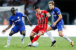 Bayern Munich Midfielder James Rodríguez (C) fights for the ball with Chelsea Defender Marcos Alonso (R) and Chelsea Midfielder N'Golo Kante (L) during the International Champions Cup match between Chelsea FC and FC Bayern Munich at National Stadium on July 25, 2017 in Singapore. Photo by Marcio Rodrigo Machado / Power Sport Images