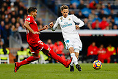 9th December 2017, Santiago Bernabeu, Madrid, Spain; La Liga football, Real Madrid versus Sevilla; Marcos Llorente of Real Madrid Zinedine Zidane Coach of Real Madrid Gabriel Mercado of Sevilla FC, in action