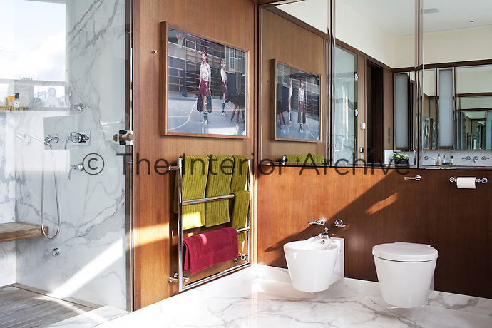 This modern wood panelled bathroom is lined with mirrors and equipped with a walk-in shower